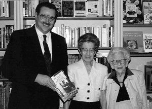 John, Madeline Stern & Leona Rostenberg at a launch party