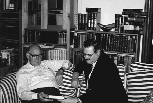 John von Hoelle presenting Bernard Middleton with his newest publication